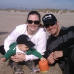 Dane, Mommy, and Daddy at the beach!