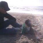 Grandpa and Dane at the beach